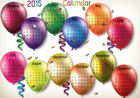 Balloon 2015 calendar in us style, start on sunday, each month with individual table.