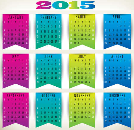 2015 calendar in us style, start on sunday, each month with individual table.