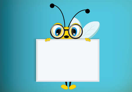Bee poses with blank paper for use in advertising, presentations, brochures, blogs, documents and forms, etc