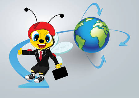 Global business and communication concept with worker bee