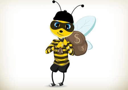 Illustration of comic cartoon thief bee