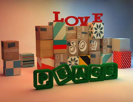 Three-dimensional carton boxes love, joy, peace concept