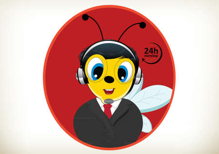 Portrait of happy smiling cheerful cartoon bee support phone operator in headset