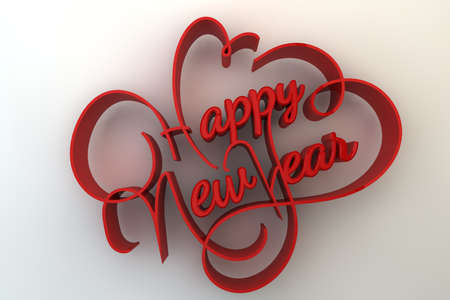 Three dimensional text design of happy new year.