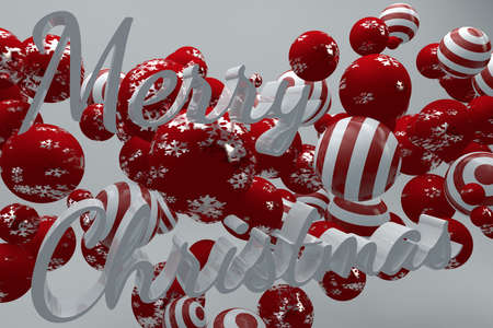 Three dimensional text design of merry chrsitmas on flying ornaments backgorund.