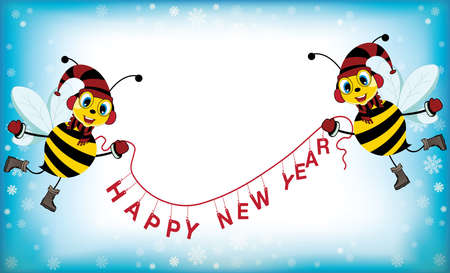 Illustration of happy new year concept with cartoon bees