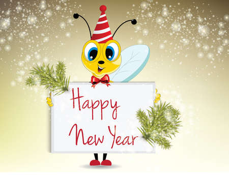 Illustration of cartoon bee holding happy new year card