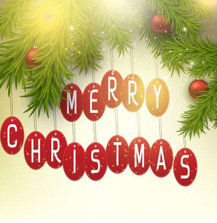 Illustration of merry christmas tags