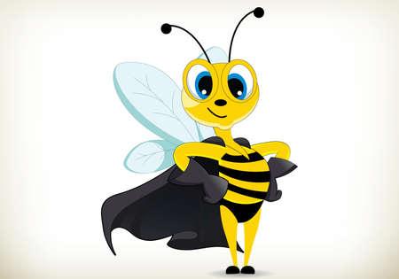 Illustration of cartoon super hero bee