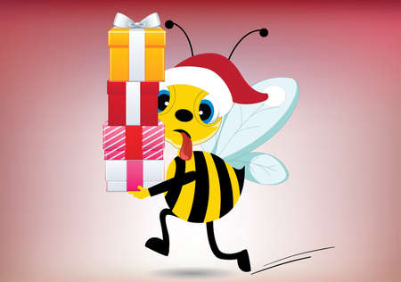 Illustration of tired santa bee carrying presents