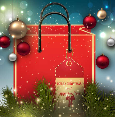 Illustration of christmas and new year present bag