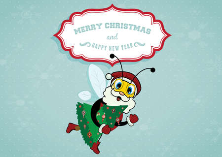 Illustration of cartoon Santa Claus bee carrying christmas tree
