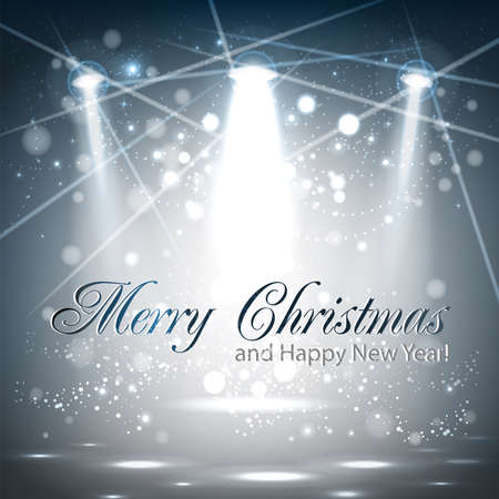 Illustration of merry christmas and happy new year card design