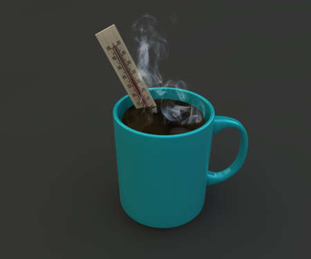Illustration of 3d coffee mug with thermometer inside. Stock Photo