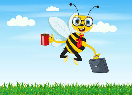 Illustration of cartoon worker bee flying to the office in the morning.
