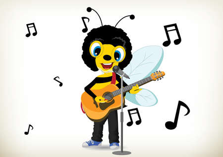 Illustration of cartoon bee playing guitar and singing 向量圖像