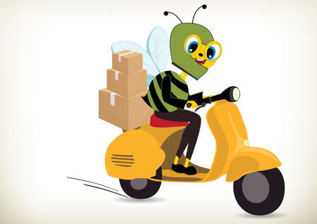 Illustration of motorcycle delivery bee Illustration