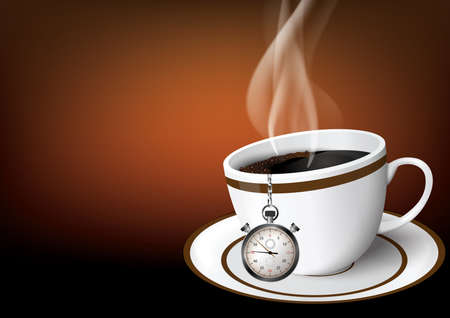 Illustration coffe cup with chronometer Illustration