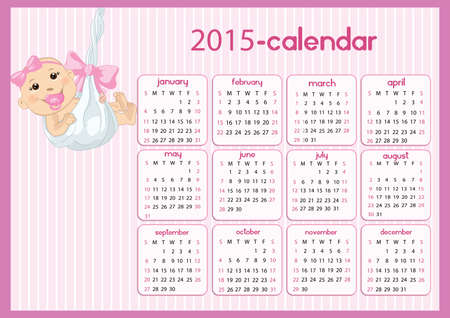 Baby girl calendar in us style, start on sunday, each month with individual table.