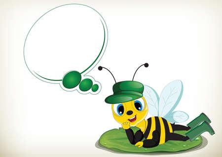 Funny cartoon dreamer bee lying on a leaf