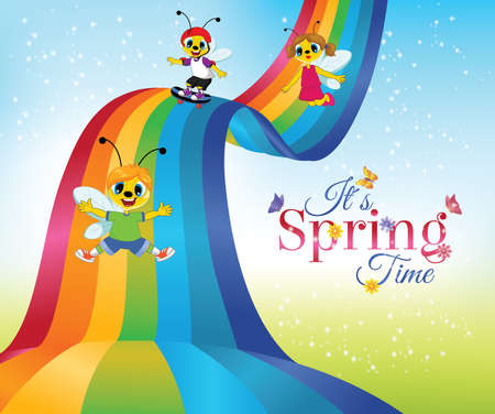 Spring time card with cartoon bee characters sliding down rainbow