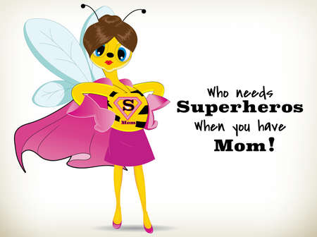 Funny Cartoon super mom bee on white background