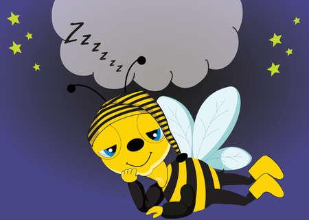 funny cartoon sleepy bee on night background