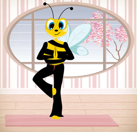 Funny cartoon bee doing yoga exercises in yoga class