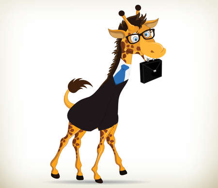 Funny cartoon giraffe going to office with its bag on white background