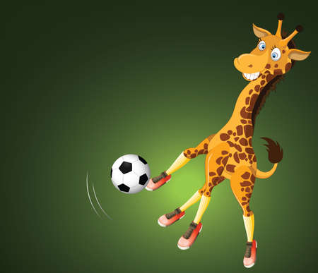 Funny cartoon soccer player giraffe on green background