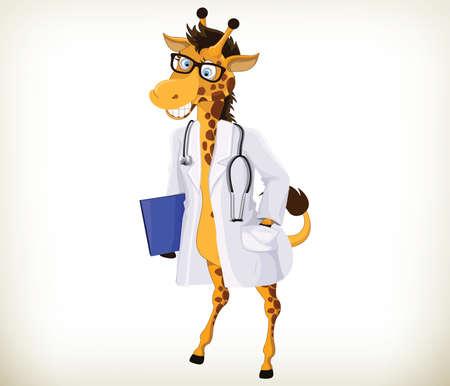Doctor divertido historieta de la jirafa en el fondo blanco