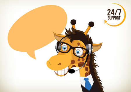 Portrait of happy smiling cartoon giraffe support phone operator in headset 向量圖像