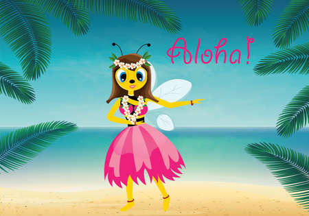 luau party: Vector illustration of hawaiian bee Illustration