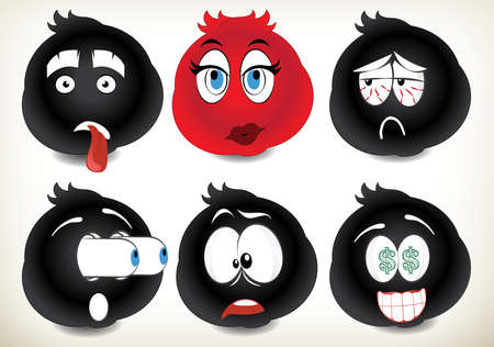 A set of 6 black smilies.