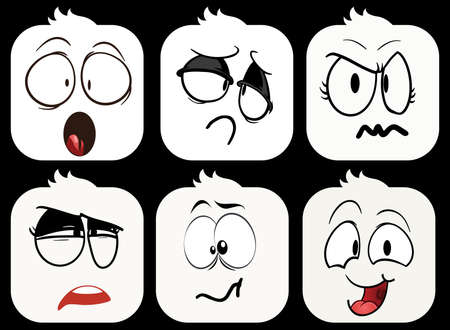 making a face: A set of 6 smilies on black background Illustration