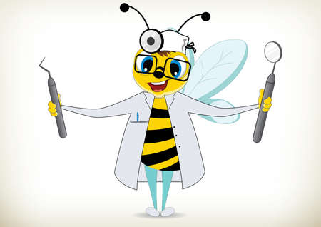 Illustration of cartoon dentist bee with tools Vectores