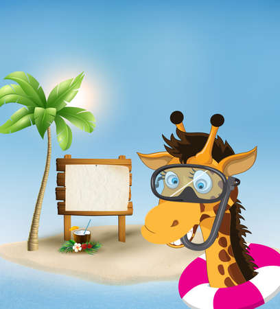 Summer vacation concept background with cartoon giraffe