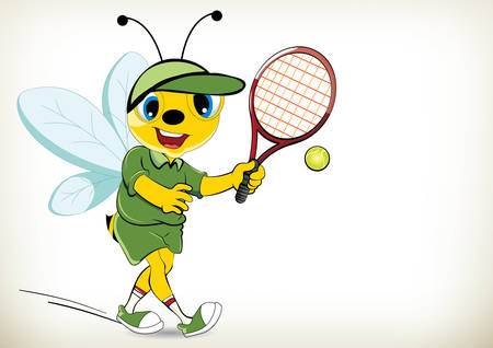 Funny cartoon tennis player bee on white background 向量圖像