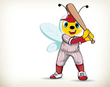 Funny cartoon baseball player bee on white background 向量圖像