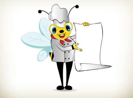 funny cartoon chef bee holding white page