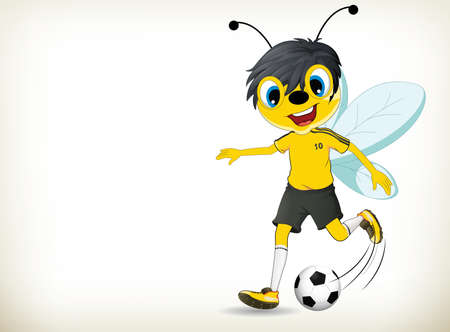 Funny cartoon footballsoccer player bee on white background
