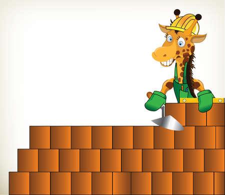 Funny cartoon handyman giraffe on white background Illustration