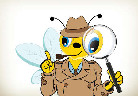 Funny cartoon detective bee on white background 向量圖像
