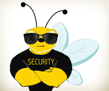 Illustration of cartoon security bee Illustration