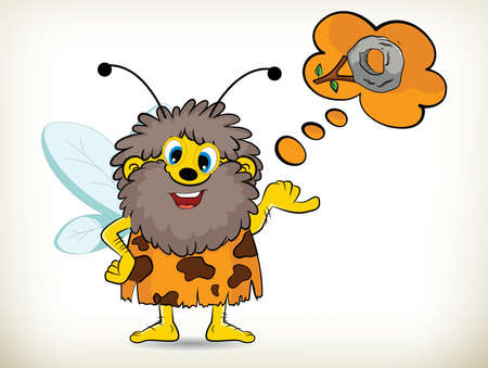 invent: Funny cartoon caveman bee invent the wheel Illustration