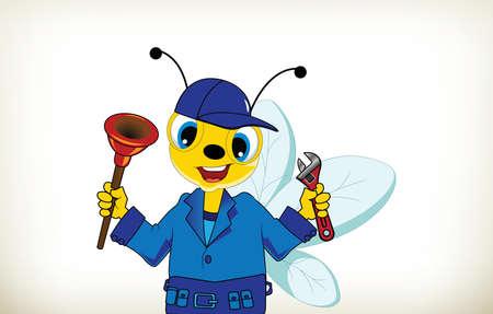 fontanero: Historieta divertida fontanero abeja con herramientas de mano en el fondo blanco