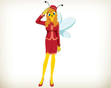 Beautiful cartoon air hostess bee on white background