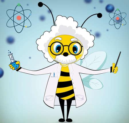 Vector Funny Einstein Bee Cartoon on blue background Illustration
