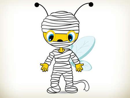 vector illustration of cartoon bee in mummy costume