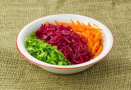 sackcloth: Season Salad on the sackcloth Stock Photo